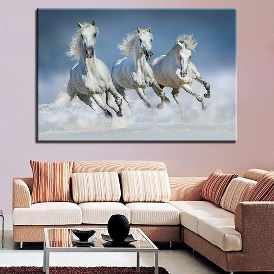 Painting Calligraphy Retro Scenery Modular Picture 1 Set Canvas Poster Animal Horse Home Decoration Print Frame Wall Art Bedroom