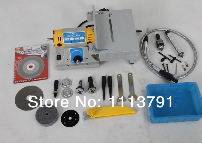 Multifunctional Mini Bench Lathe Machine Electric Grinder Polisher Driller Cutterbar 350w Standard configuration