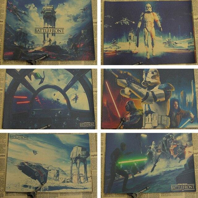 Ретро Крафт Бумага Плакат Звездные Войны Плакат Ретро Книги по искусству стены дома украшения постер фильма Наклейки на стену 21*30 см