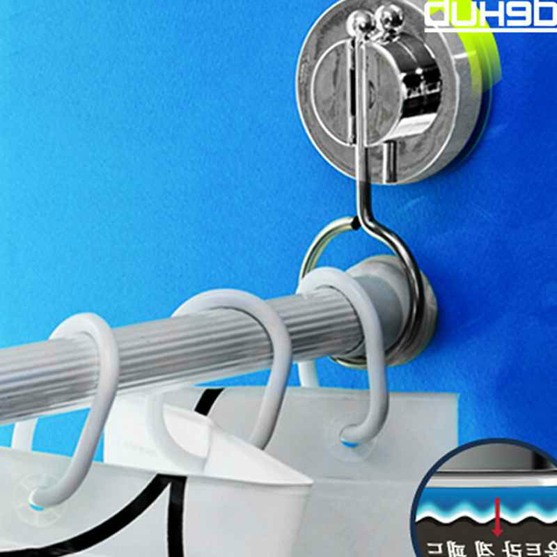 Suction Bathroom Rack Shower Curtain Rod Hanging Ring Rods Stand