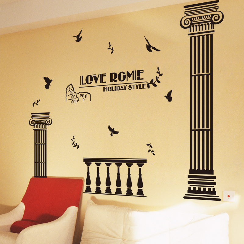 [SHIJUEHEZI] Customized Roman Column Wall Stickers Vinyl DIY Handmade Mural Art Buildings for Living Room Bedroom Decoration