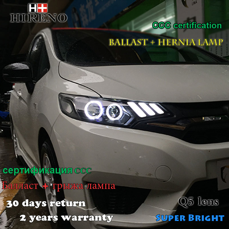 Hireno Car styling Headlamp for 2014-2017 Honda Fit jazz Headlight Assembly LED DRL Angel Lens Double Beam HID Xenon 2pcs hireno car styling headlamp for 2003 2007 honda accord headlight assembly led drl angel lens double beam hid xenon 2pcs