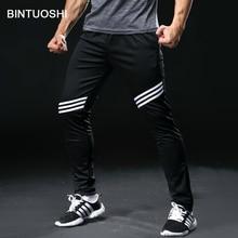 BINTUOSHI Good Elasticity Mens Running Pants with Zipper Pocket Training Trousers Sport Wear Fitness Legging Gym