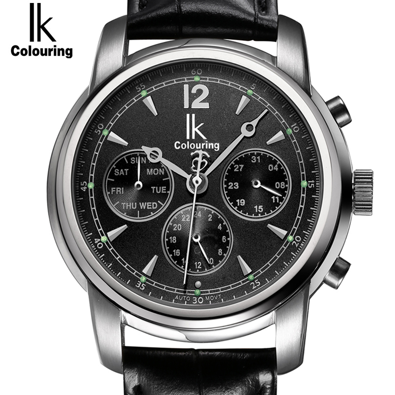 IK Colouring Automatic Self Wind clock Subdial Hollow Back Cover Waterproof Sapphire Mirror Fashion Casual mens watchIK Colouring Automatic Self Wind clock Subdial Hollow Back Cover Waterproof Sapphire Mirror Fashion Casual mens watch