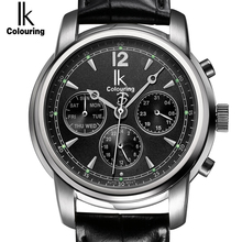 IK Colouring Automatic Self Wind clock Subdial Hollow Back Cover Waterproof Sapphire Mirror Fashion Casual men's watch