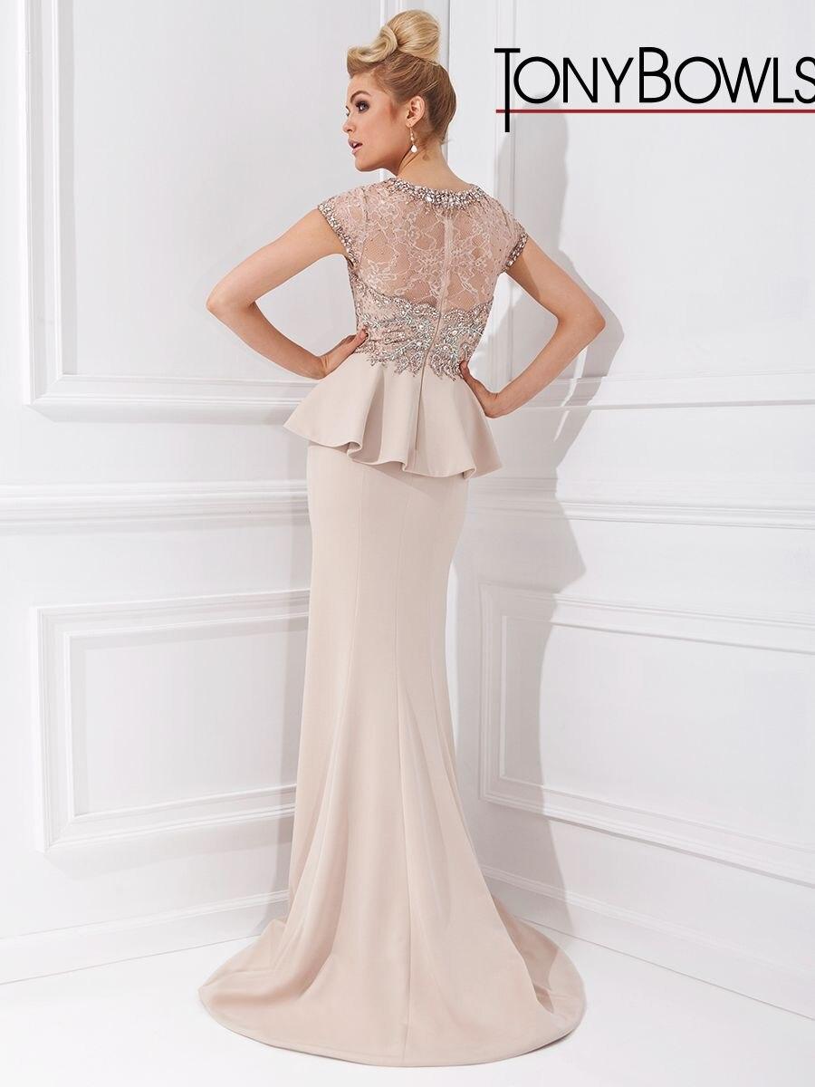 Elegant Sheath Evening Dresses Crystal Beading Peplum Draped Formal ...