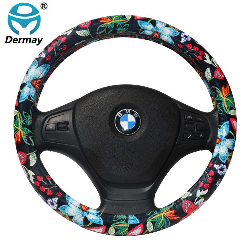 DERMAY PU Leather Cute Car Steering Wheel Cover Flowers Printed Cartoon for Girls Women Car Styling fit 14-15 Steering Wheel