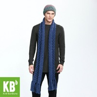 KBB Fashionable Pure Sapphire Cute Lace Style Warm Winter Acrylic Knitted Men Neck Cover Scarf