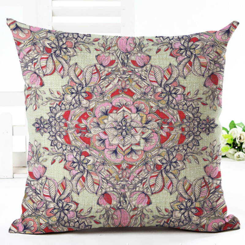 Cotton Floral Pillowcase Cushion Cover National Style Decorative Throw Pillow Covers For Sofa Cat Seat Home Decor F
