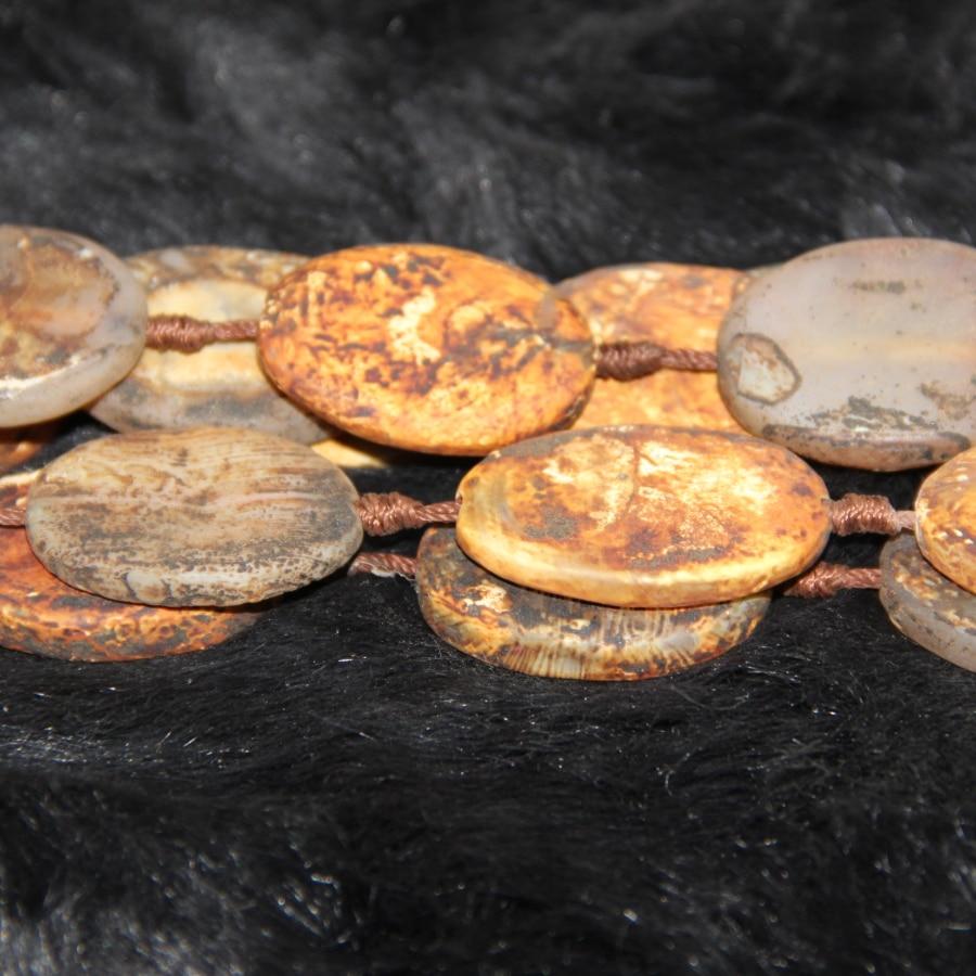2strand gula mystiska charms skiva skiva pärlor 15,5 tibetanska Dzi - Märkessmycken
