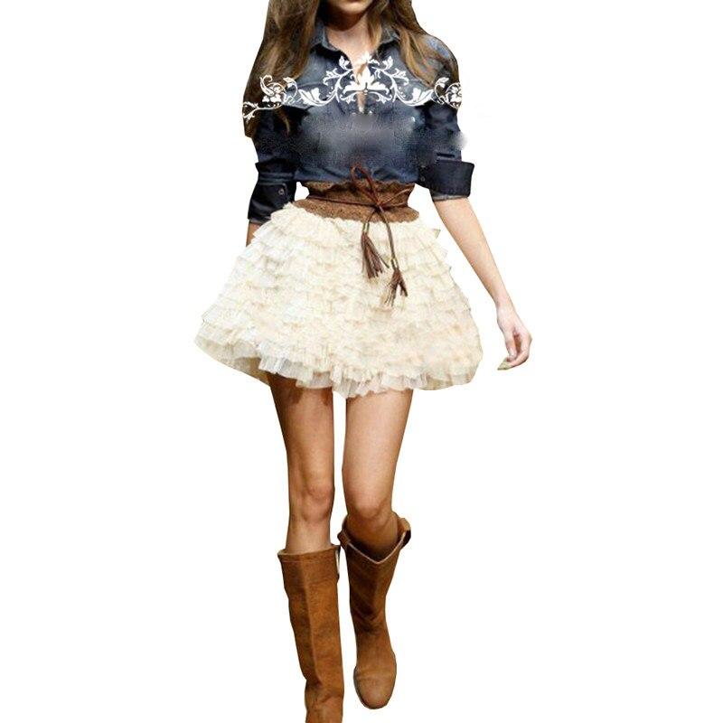 High Street Short Tiered Rüschen Tüll Röcke Für Frauen 2018 Elastisches Beige farbe Mode Mini Tutu Rock Weibliche Erwachsene Saias-in Röcke aus Damenbekleidung bei  Gruppe 1