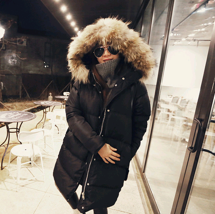 Real raccoon dog fur collar hooded fashion white duck   down   jackets women   down     coats   outerwear 2018 autumn winter