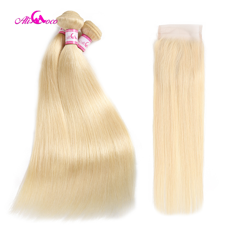 Ali Coco Brazilian Straight Blonde Hair 613 Bundles With Closure 10 28 Inch Free Part Remy