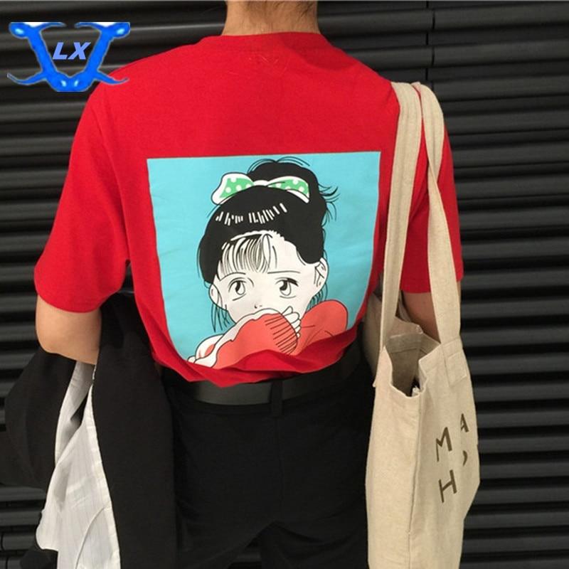 Korea punane tüdruk trükitud Harajuku Naised lahti t-särk lühikeste varrukatega tünnid