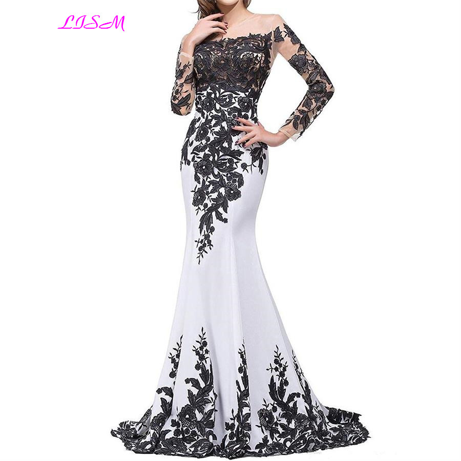 2019 New O Neck Appliques Mermaid   Prom     Dresses   Sexy Sheer Long Sleeve Formal Gowns Sweet Party   Dress   for Girls vestido formatura