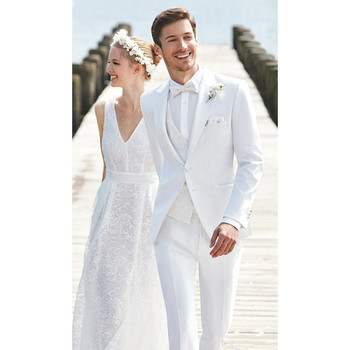 White Wedding Mens Suits Slim Fit Bridegroom Tuxedos Men Groomsmen Peaked Lapel Formal Business Jacket  (Jacket+Pants+Vest) K364