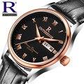Moda de Luxo Da Marca de Relógio De Couro Dos Homens de Negócios Quartz Watch Sapphire Espelho RON À Prova D' Água Mens Relógios Com Caixa Original