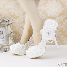 Lace pearl white flowers bridal shoes thin high heel  platform shoes with pearl pendant pointed toe wedding shoes