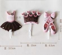 3PCS/SET 10X14.5CM Creative Wall Hanger Resin Ballet Clothes Key Hook