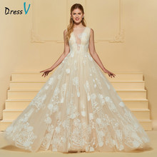 Dressv elegant a line wedding dress scoop neck button lace sleeveless floor length bridal outdoor&church wedding dresses(China)