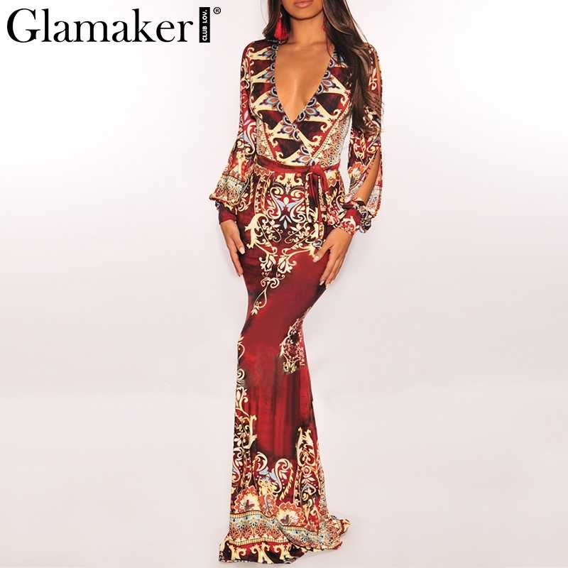 Glamaker сексуальное длинное платье с принтом пейсли красного цвета женское платье макси с поясом элегантное Бохо летнее женское платье Вечерние облегающее платье causa festa 2019
