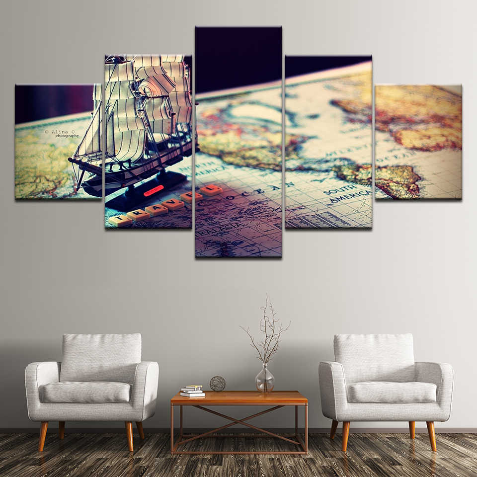 Kanvas Lukisan peta 5 Pieces Kecil segar indah Wall Art Lukisan Modular Wallpaper Poster Cetak untuk ruang tamu Rumah Dekorasi
