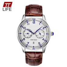 TTLIFE New Fashion Watches Man Business Military Watch 2016 Genuine Leather Watch Bands Role Luxury Wrist Watches Calendar Clock