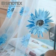Cortina de ventana de Tela Voile Impreso Floral Tulle Para El Hogar Sala de Proyección Transparente Transparente 1 Unids/lote