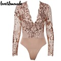 Love&Lemonade Gold Flower Sequined V-Neck  Bodysuits TB 9379
