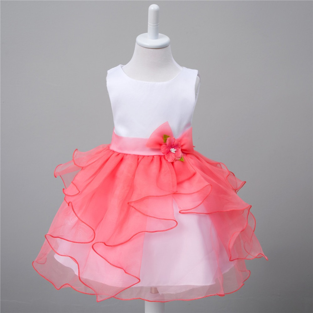 It's YiiYa Four Colors Sleeveless O-Neck Sashes With Beading Ribbons Kids Princess   Flower     Girls     Dress   Ball Gown Summer TS013