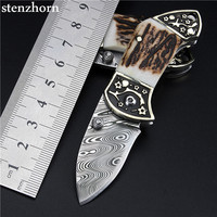 Stenzhorn New Tactical Knife Top Fashion Promotion Swedish Powder Damascus Knives Mini Key Ring Antlers Portable Folding Upscale