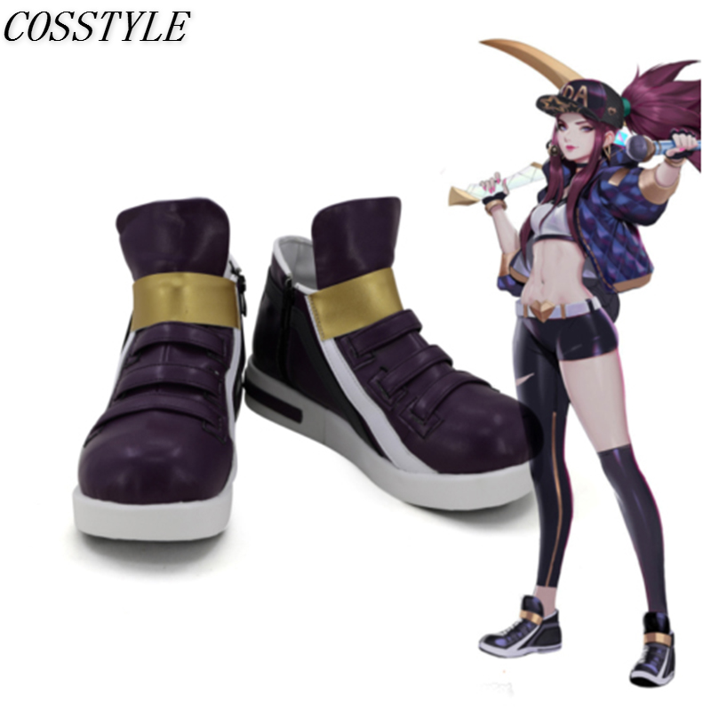Hot Sale KDA Akali Cosplay Shoes LOL AKALI Cosplay Women Shoes Game LOL K/DA Akali Cosplay Boots Purple Color Custom Made
