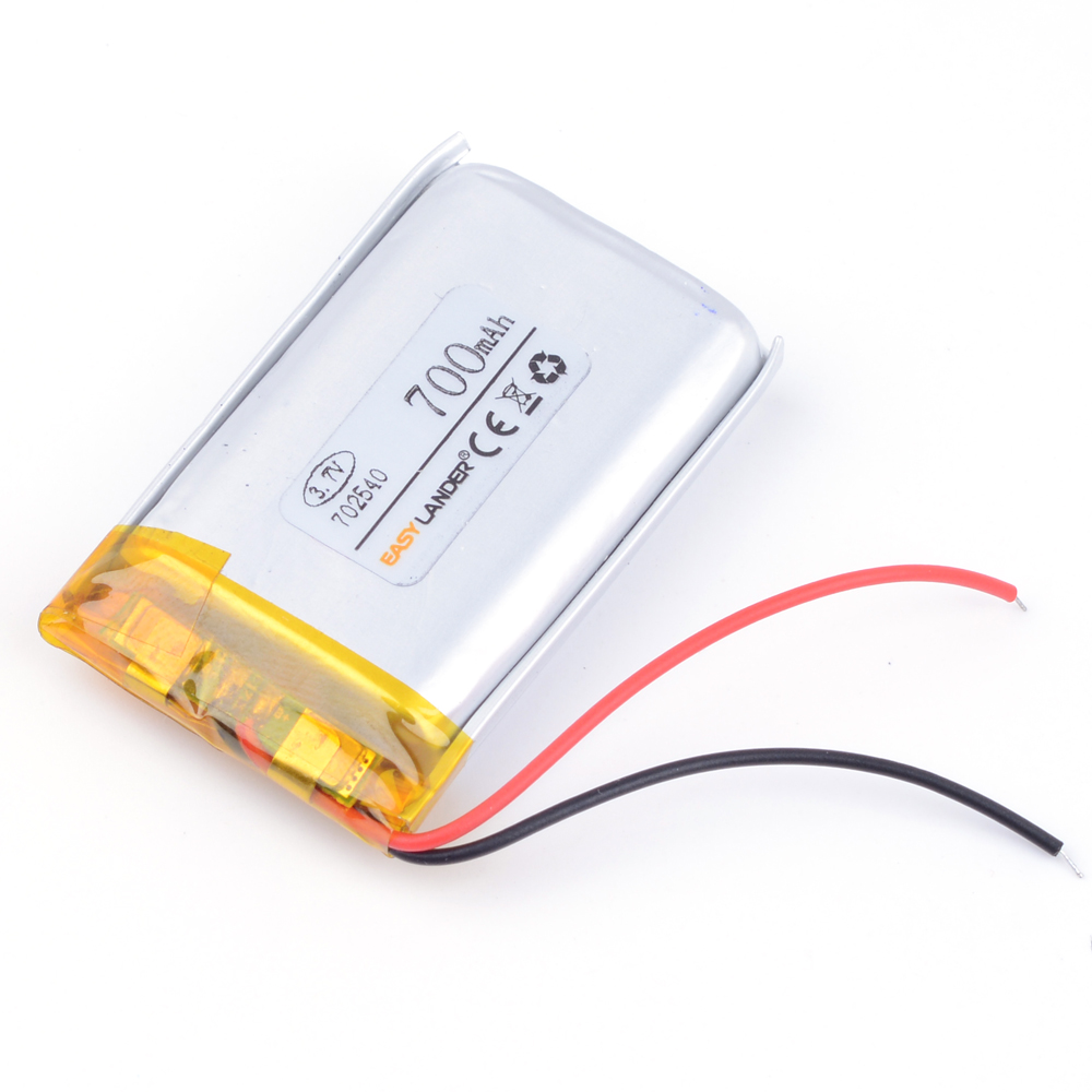 3.7V 700mAh Rechargeable Li Polymer Li-ion Battery For Bluetooth Headset MP3 MP4 Speaker Mouse Recorder 072540 702540