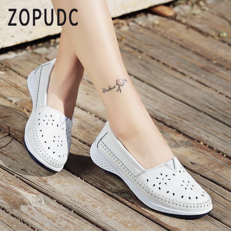 ZOPUDC 2018 Women Flats Ladies Slip-On Loafers Shoes Women Genuine Leather Casual Boat Shoes Party Flat Shoes Big Size new women genuine leather flat shoes round toe slip on women flats ladies casual flat shoes comfortable loafers size 22 26 5 cm