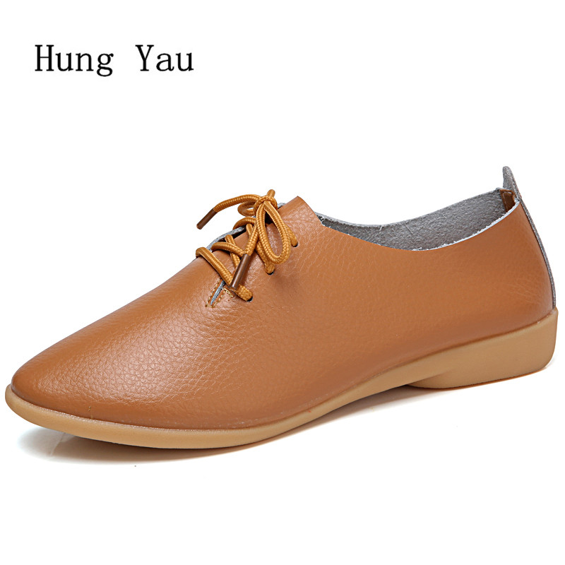 Women Shoes Flats Genuine Leather 2018 Summer Autumn Fashion Lace Up Casual Shoes Woman Flat Work Walking Round Toe Plus Size keloch new arrival breathable air mesh shoes woman summer walking casual shoes lightweight lace up flat women shoes