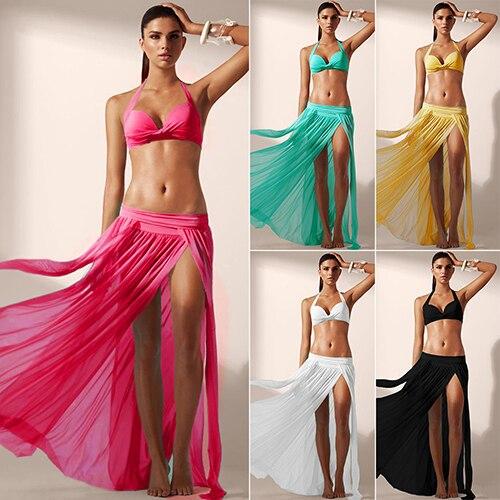 Women s Fashion Summer Sexy Perspective Split Stretch Elastic Waist Beach Skirt