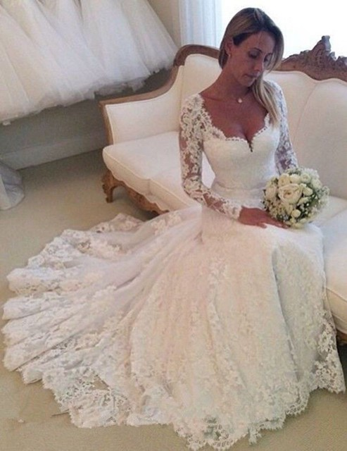 Amazing Style Sweetheart Long Sleeves A Line Floor Length Lace Bridal Wedding Dresses Gown Vestidos De Novia