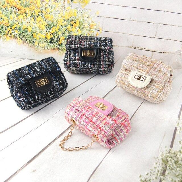 53b1f03015b5 Fashion Woolen Cute Small Girl s Messenger Bag Mini Brand Designer Winter  New Children Crossbody Bag Chain