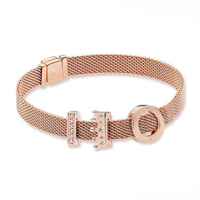 Nouveau 100% 925 Bracelet en argent Sterling réflexions ensemble or Rose mode élégant Fit européen bricolage Original charme perle bijoux cadeau