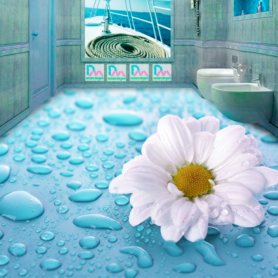 beibehang 3D Stereoscopic Drops Flower Vinyl Floor Tiles Waterproof ...