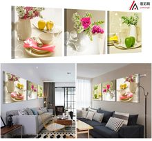 3 Piece Flowers Pictures Canvas Print Poster Fruits oil Paintings for the Kitchen Modular House Decoration for the Living Room(China)