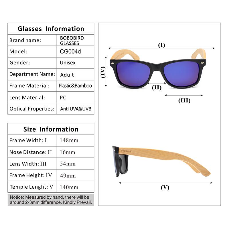 BOBO BIRD Black Square Sunglasses With Bamboo Mirrored 17