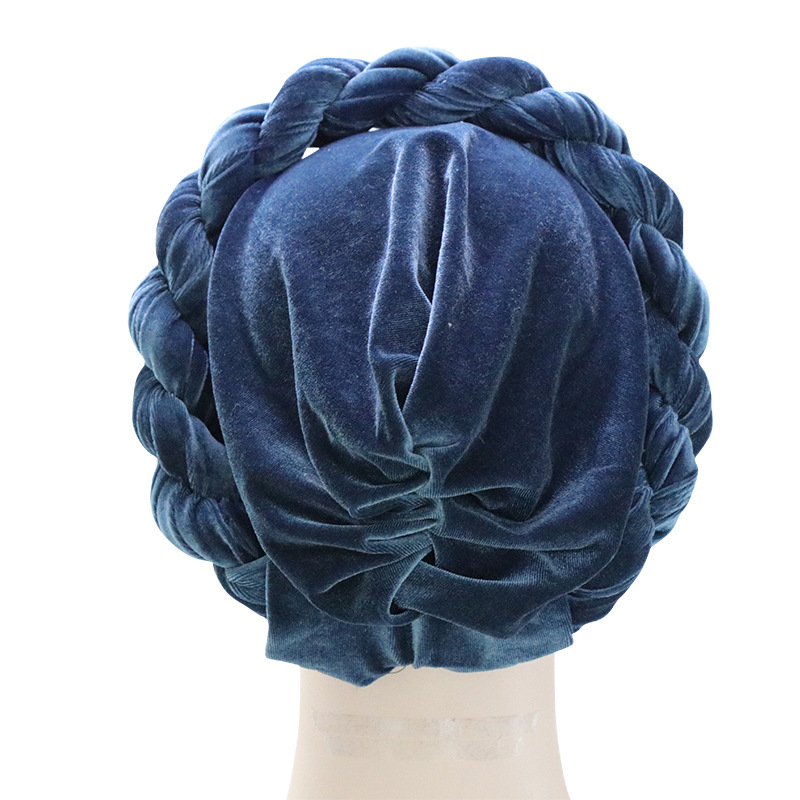 Image 4 - Muslim Women Hemp Flower Braid Cross Velvet Turban Hat Scarf 