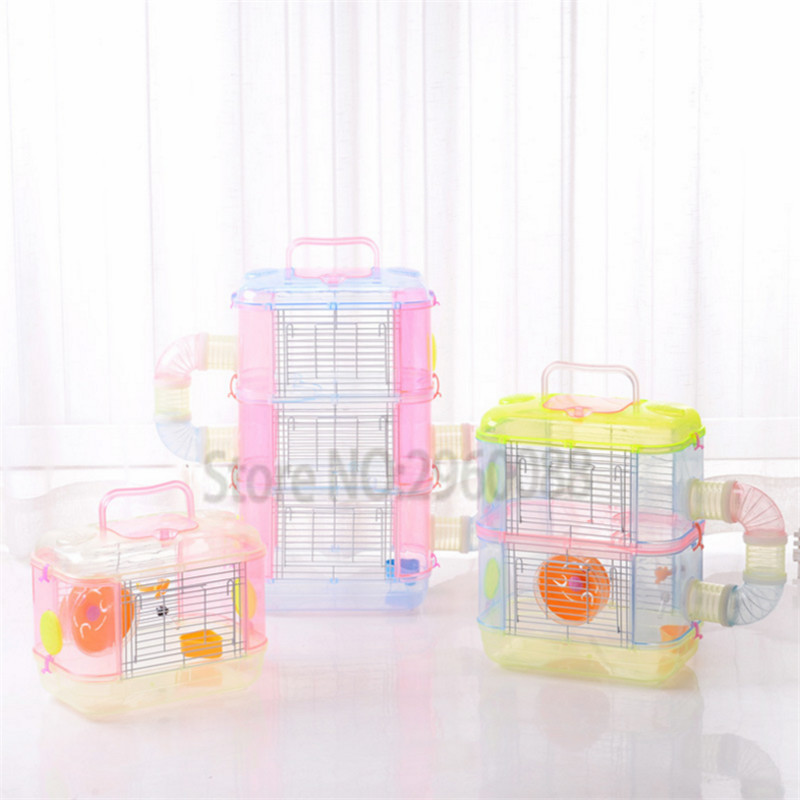 2018 free shipping Transparent Diy Hamster Cage,multi-layer Pet Cage Pp Material Traveling Portable Cages Suppliesguinea Pig