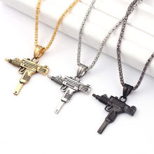Charm Pistol UZI Gun Shaped Pendant Punk Tommy Gun Army Style Male Chain Necklace For Men corrente masculina Jewelry Gifts(China)