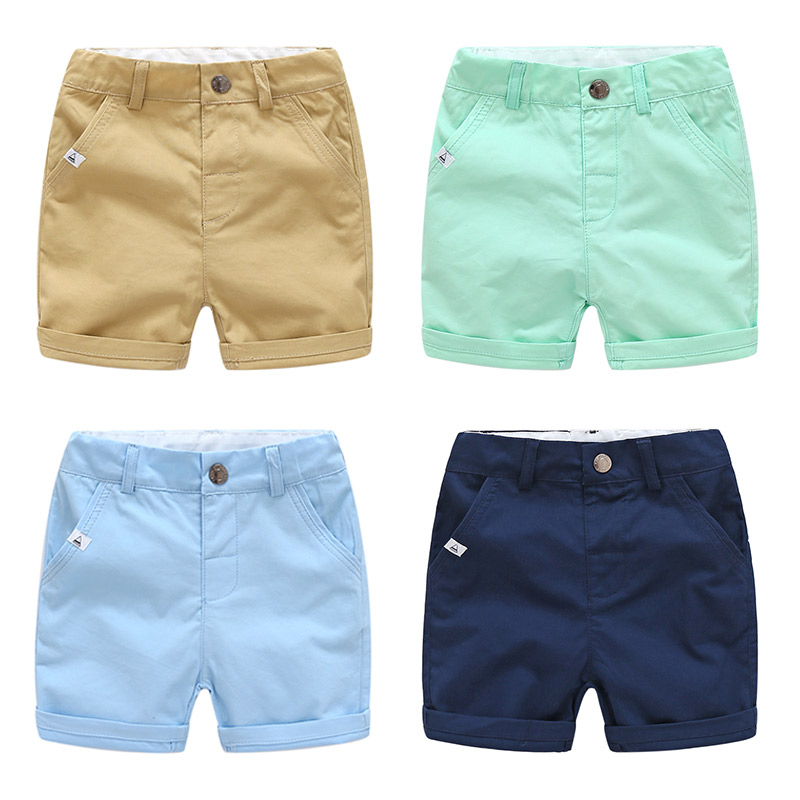 2019 Summer European 2 3 4 5 6 7 8 9 10 Years Teenager Cotton Sports Drawstring Handsome Pocket Solid Color Kids Baby Boy   Shorts