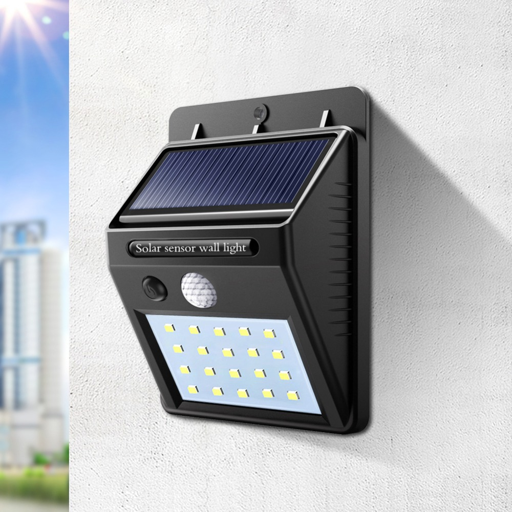 20 LED recargable LED bombilla de luz Solar exterior lámpara de jardín decoración PIR Sensor de movimiento luz de pared de seguridad nocturna impermeable