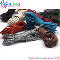 1.5mm 5M Craft Color Round Genuine Leather Cord/Wire/Golden Silver diy earrings Bracelet choker necklace jewelry making Cords