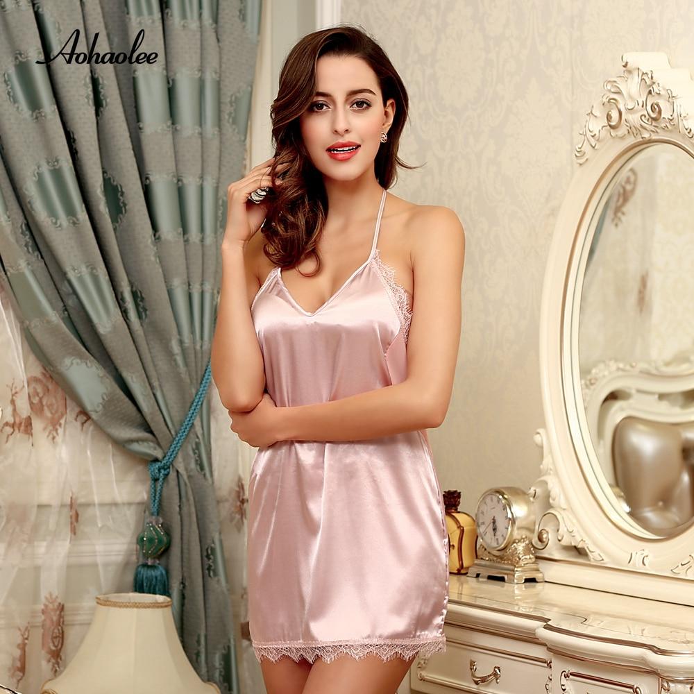 Hot Sale Sexy Robe Women Nightwear Mini   Nightgowns   Deep V-neck and Backless Nightwear   Sleepshirts   Soft Silk Sleepwear   Nightgowns