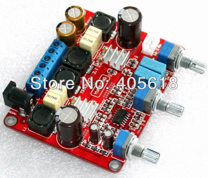 montado 25wx2 tpa3123 amplificador hi fi amp board 2 1 canal 50 w subwoofer